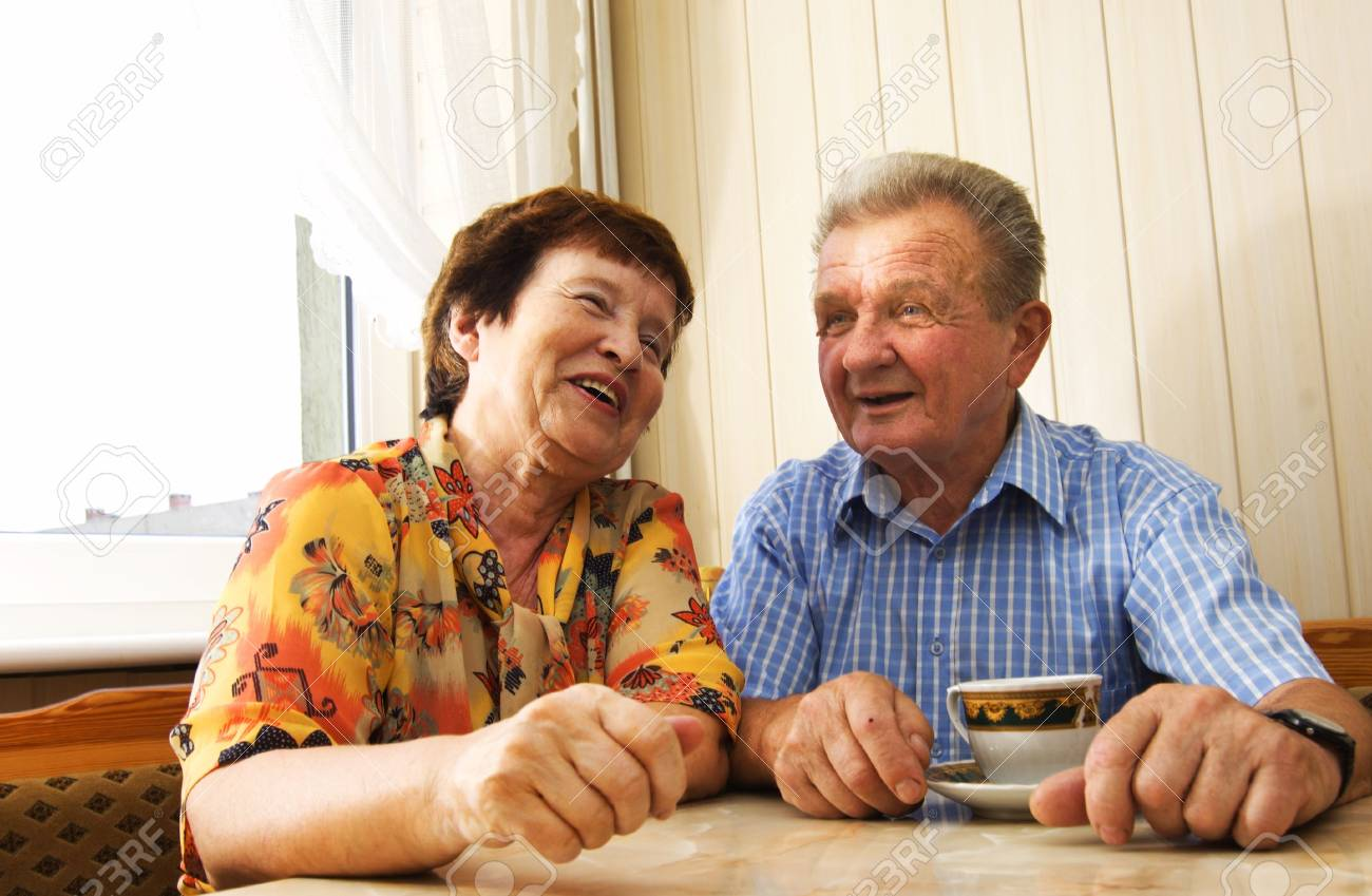 Happy senior couple in kitchen Stock Photo - 3581432