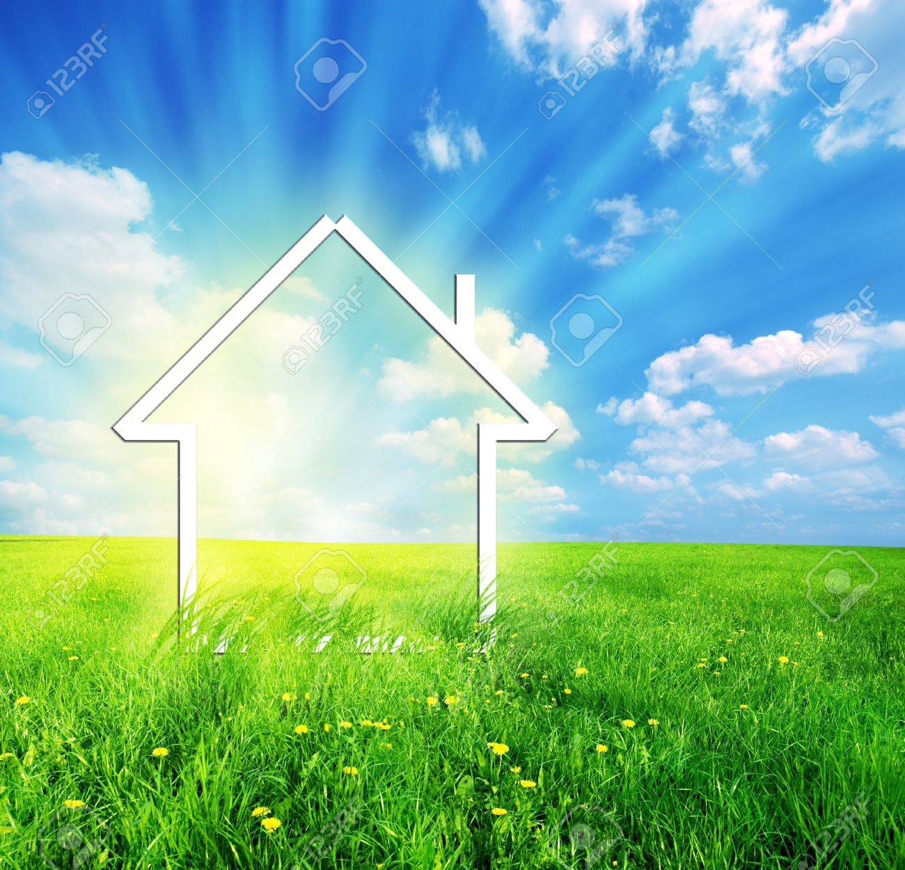 New house imagination vision on green meadow. Conceptual image Stock Photo - 4415879