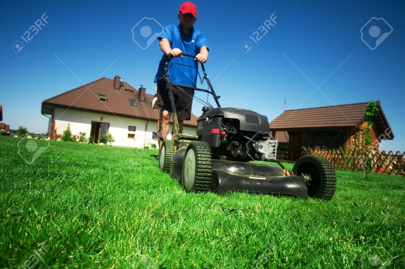 Man mowing the lawn. Gardening Stock Photo - 5340180