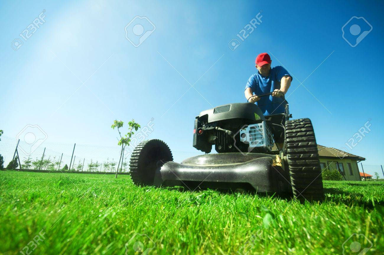 Man mowing the lawn. Gardening Stock Photo - 5340203