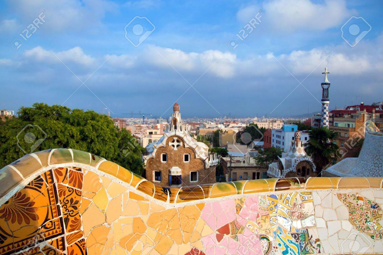 Building in Park Guell, view on Barcelona, Spain - 10859172