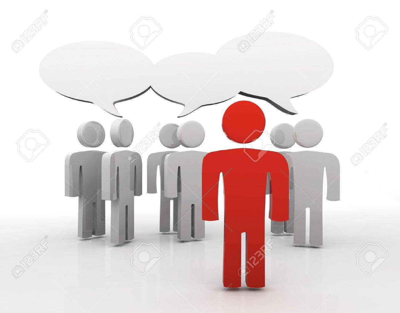 People having discussion, blank speech bubbles. One red man in front. Stock Photo - 14478197