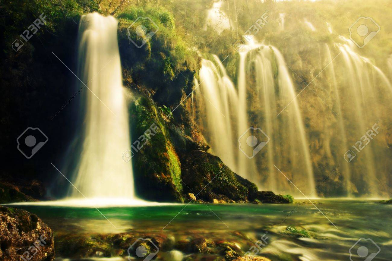Waterfall in forest. Crystal clear water. Plitvice lakes, Croatia Stock Photo - 16662221