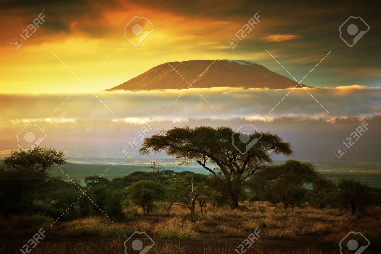 Mount Kilimanjaro and clouds line at sunset, view from savanna landscape in Amboseli, Kenya, Africa Stock Photo - 17962446