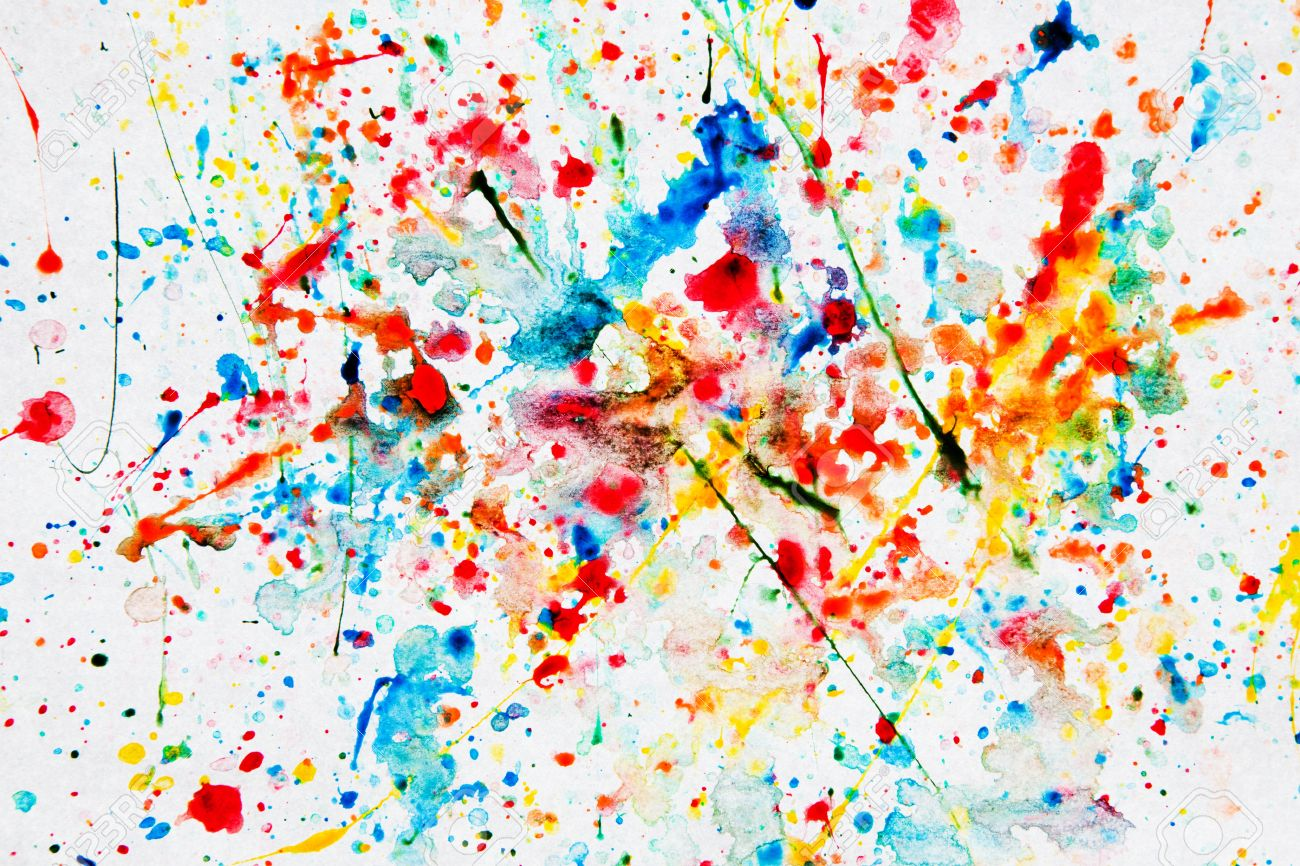 Colorful watercolor splash on white paper. Art background
