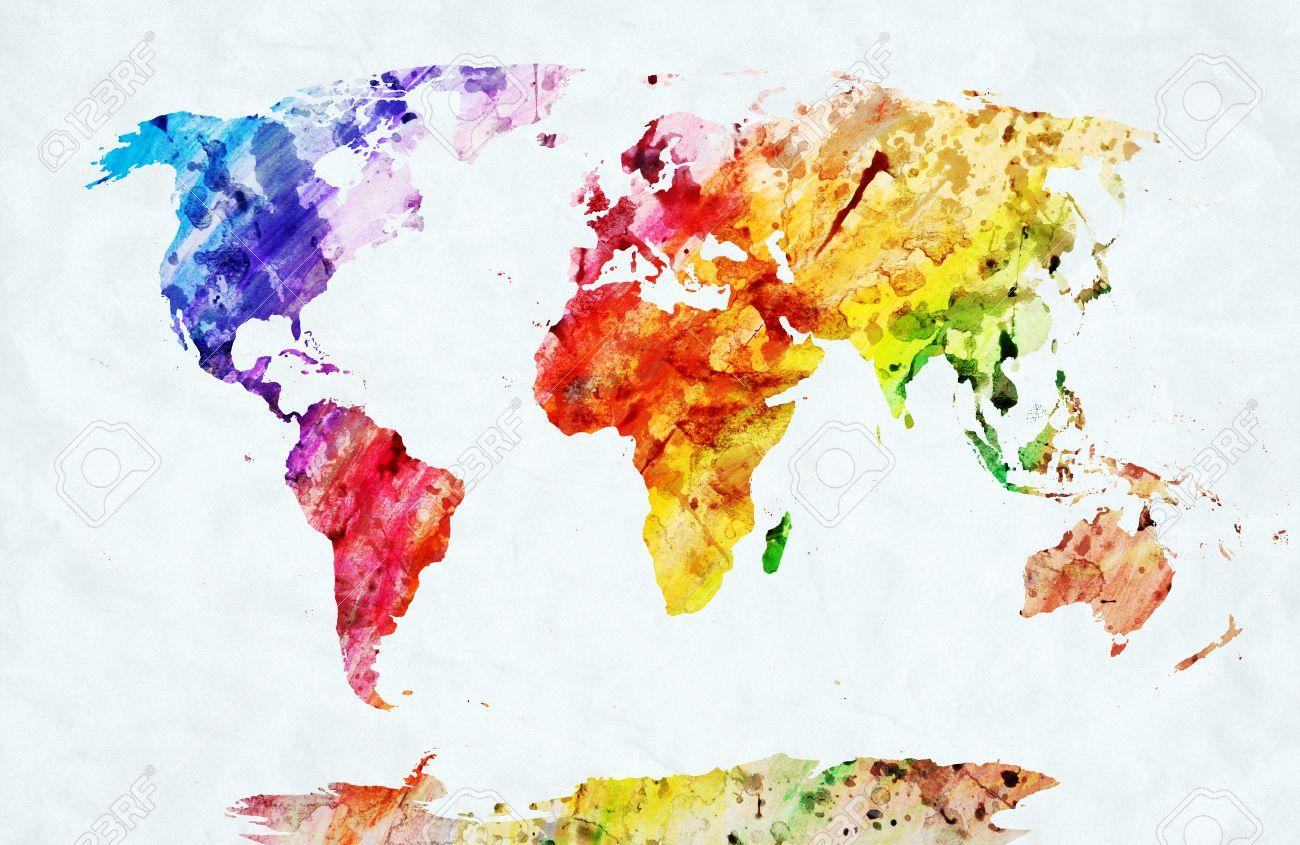 Aquarell Weltkarte Bunte Farben Auf Weissem Papier Hd Qualitat
