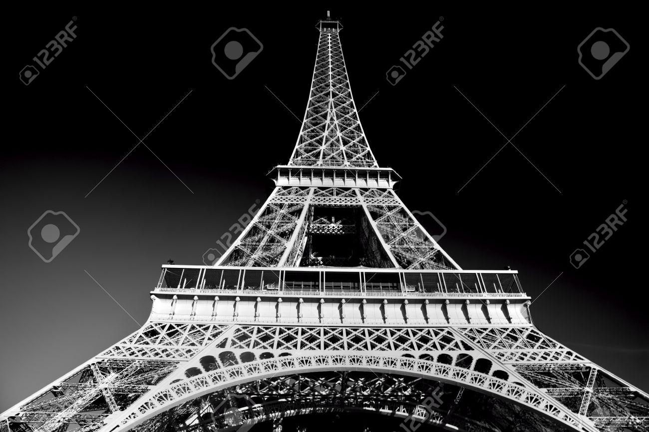 Torre Eiffel En Tono Artístico Blanco Y Negro París Francia