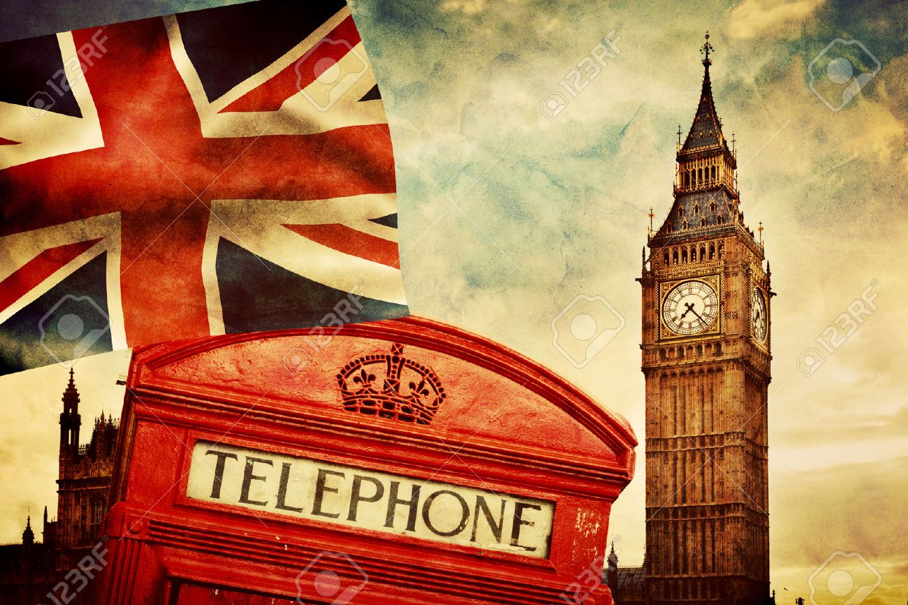 Symbols Of London England The UK Red Telephone Booth Big Stock
