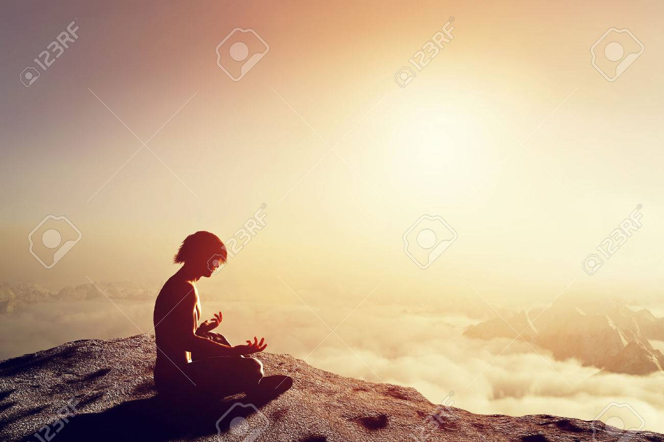 Asian man meditates in yoga position in high mountains above clouds at sunset. Unique concept of meditation, spirituality, balance, harmony in life. - 33643756