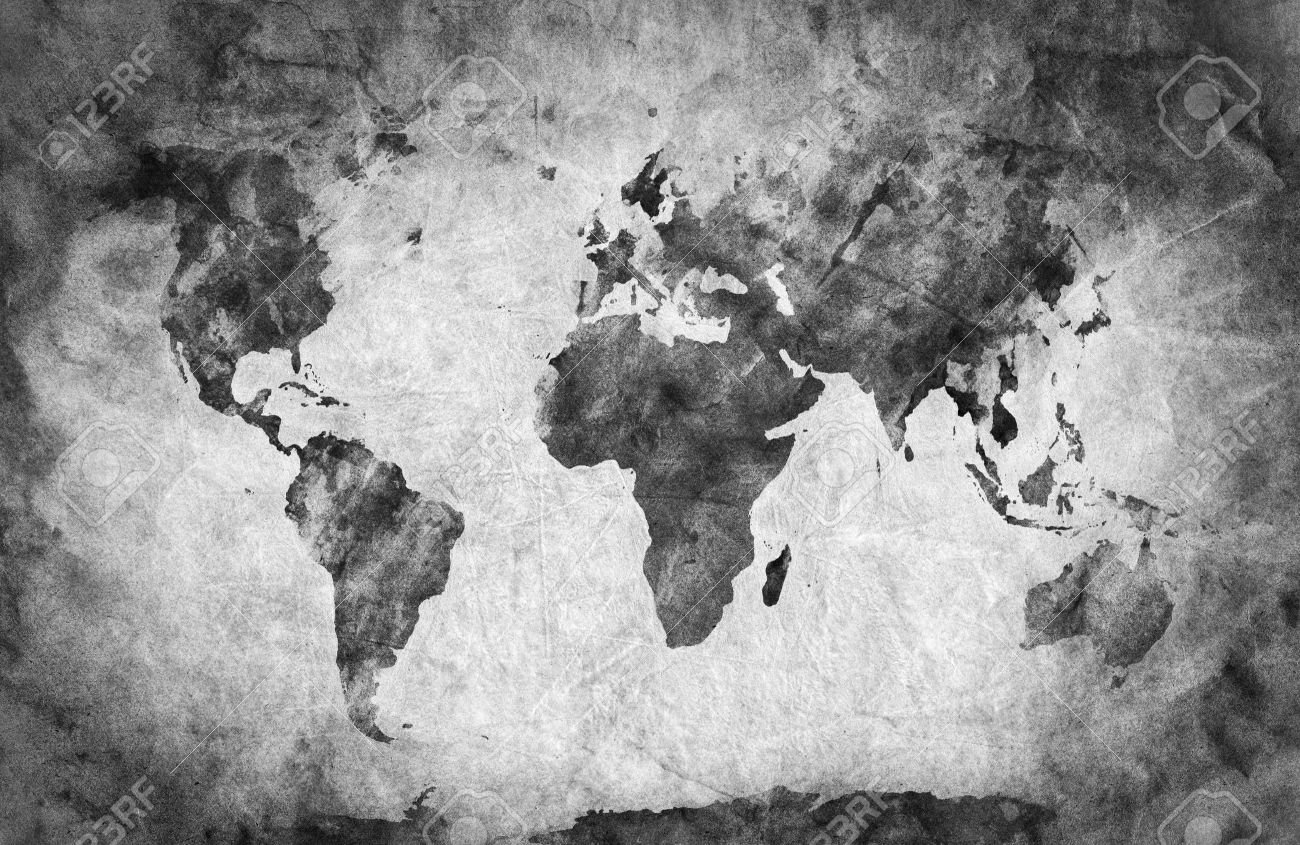 Ancient, Old World Map. Pencil Sketch, Grunge, Vintage Background ...