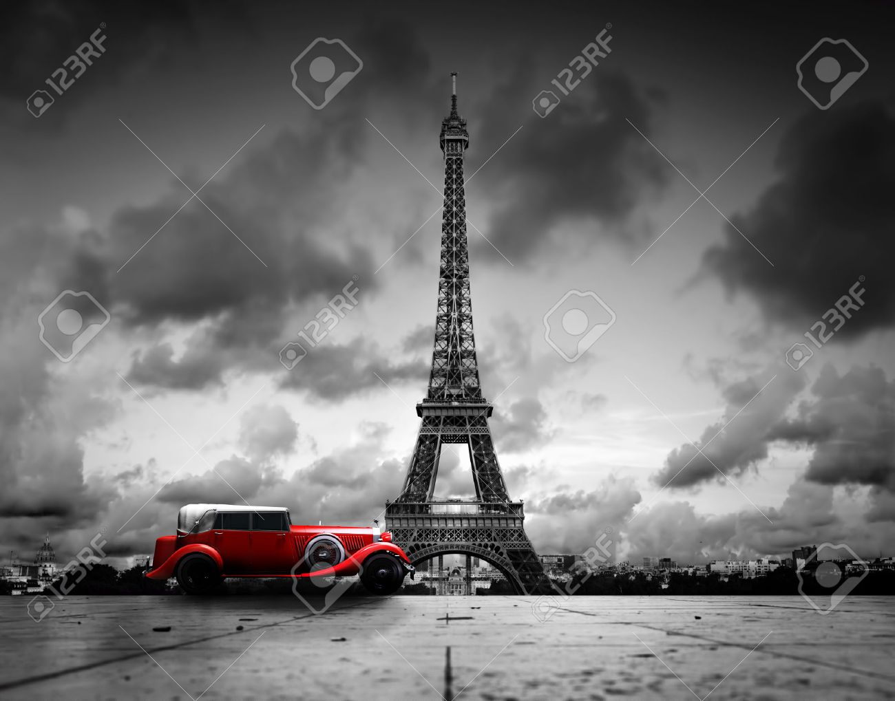 Eiffel Tower Black And White Red