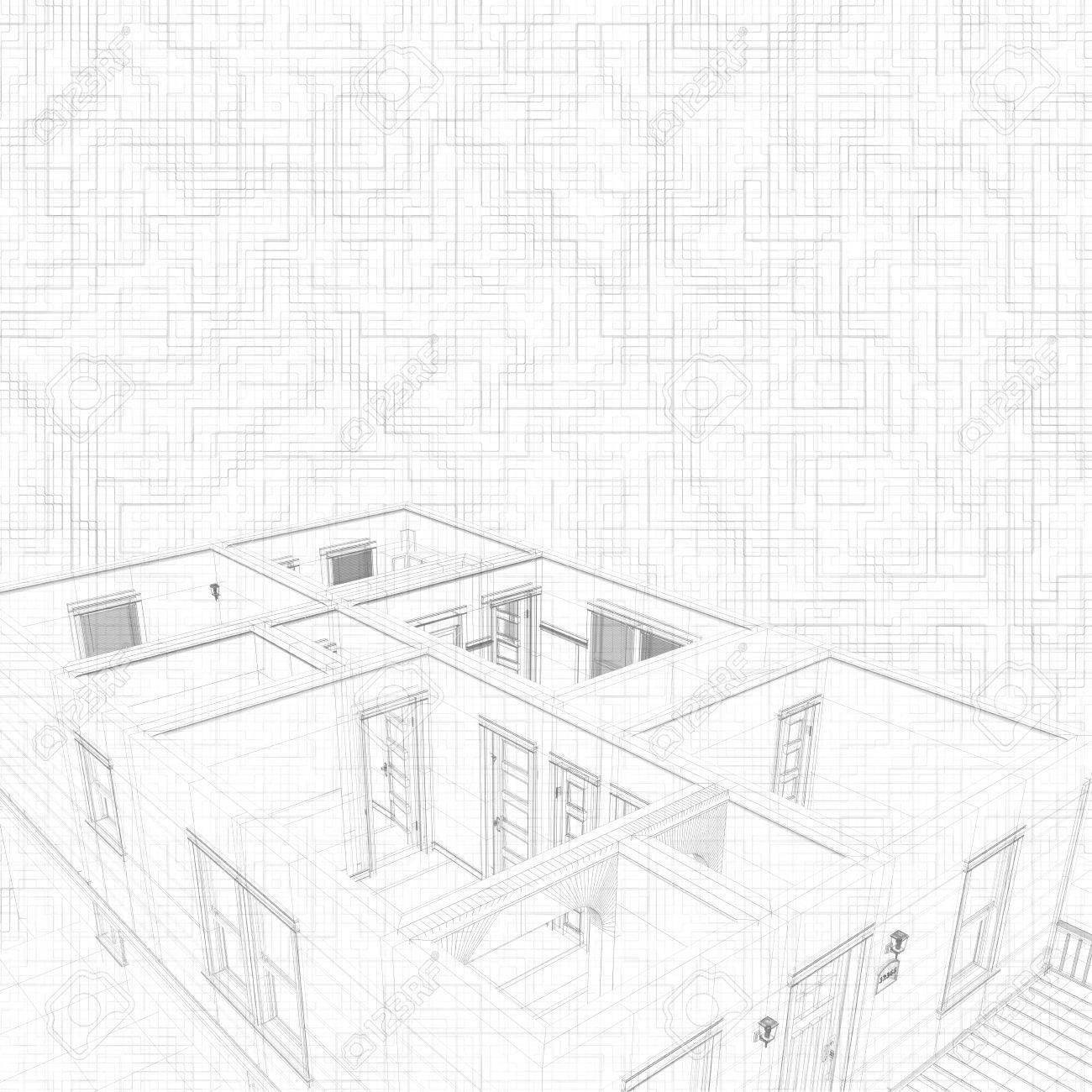 3d Sketch Of A House Geometric Lines Concept Of Architect Project