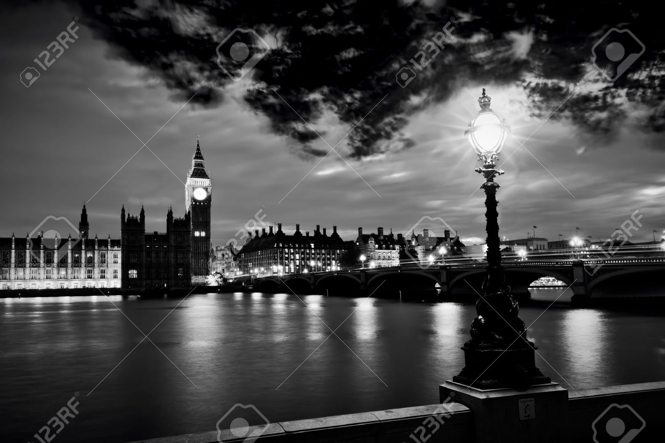 Black And White Big Ben The Palace Of Westminster River Thames At Night London