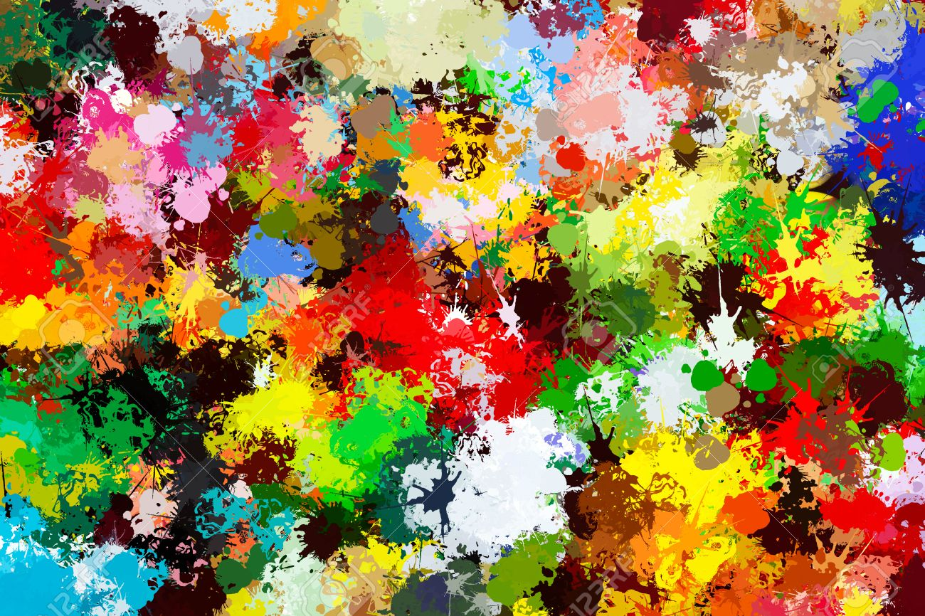 Colorful Paint Splashes Background Creative Art Wallpaper Stock Photo