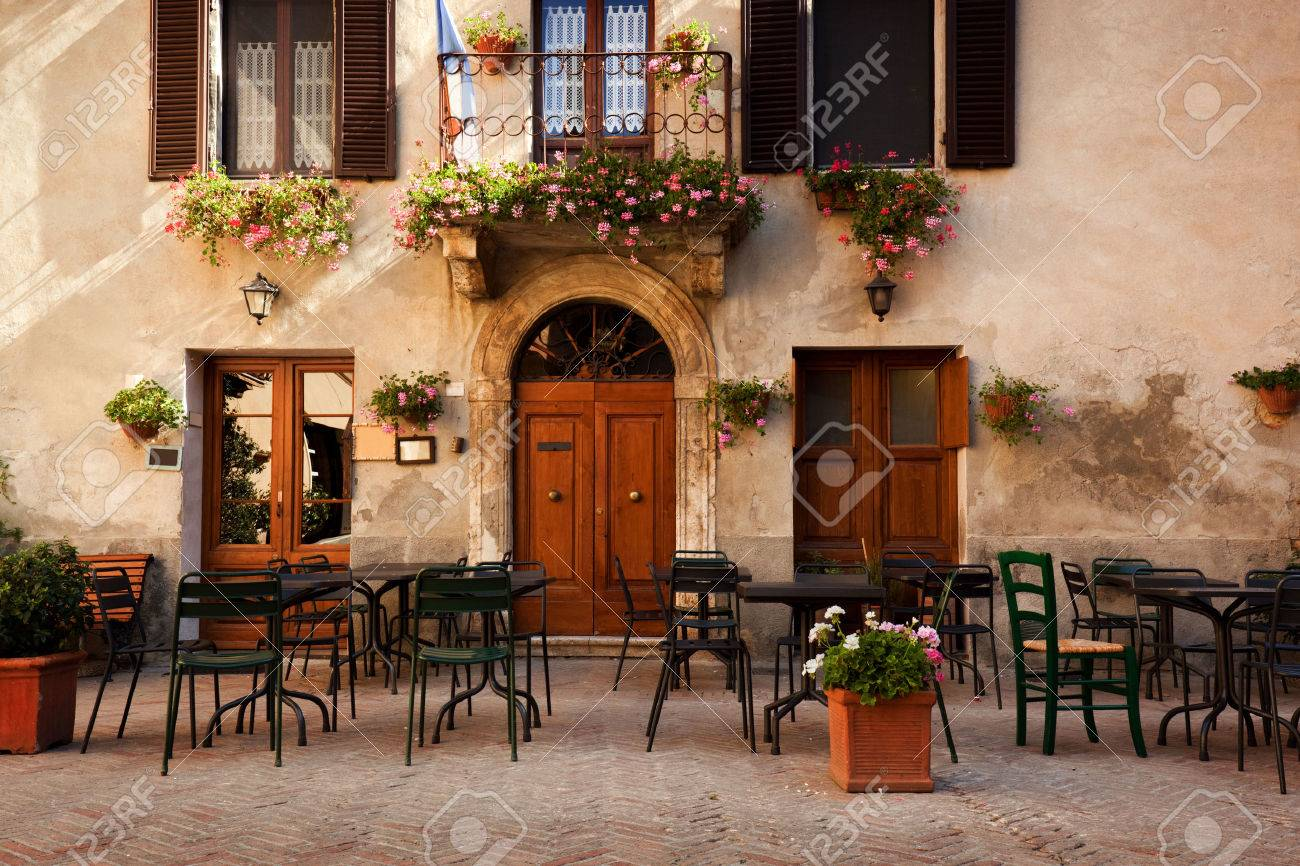 Retro Romantic Restaurant Cafe In A Small Italian Town Vintage Italy Outdoor Trattoria