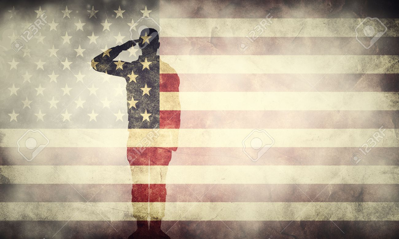 Double exposure of saluting soldier on USA grunge flag. Vintage, retro style. Patriotic design - 50882793