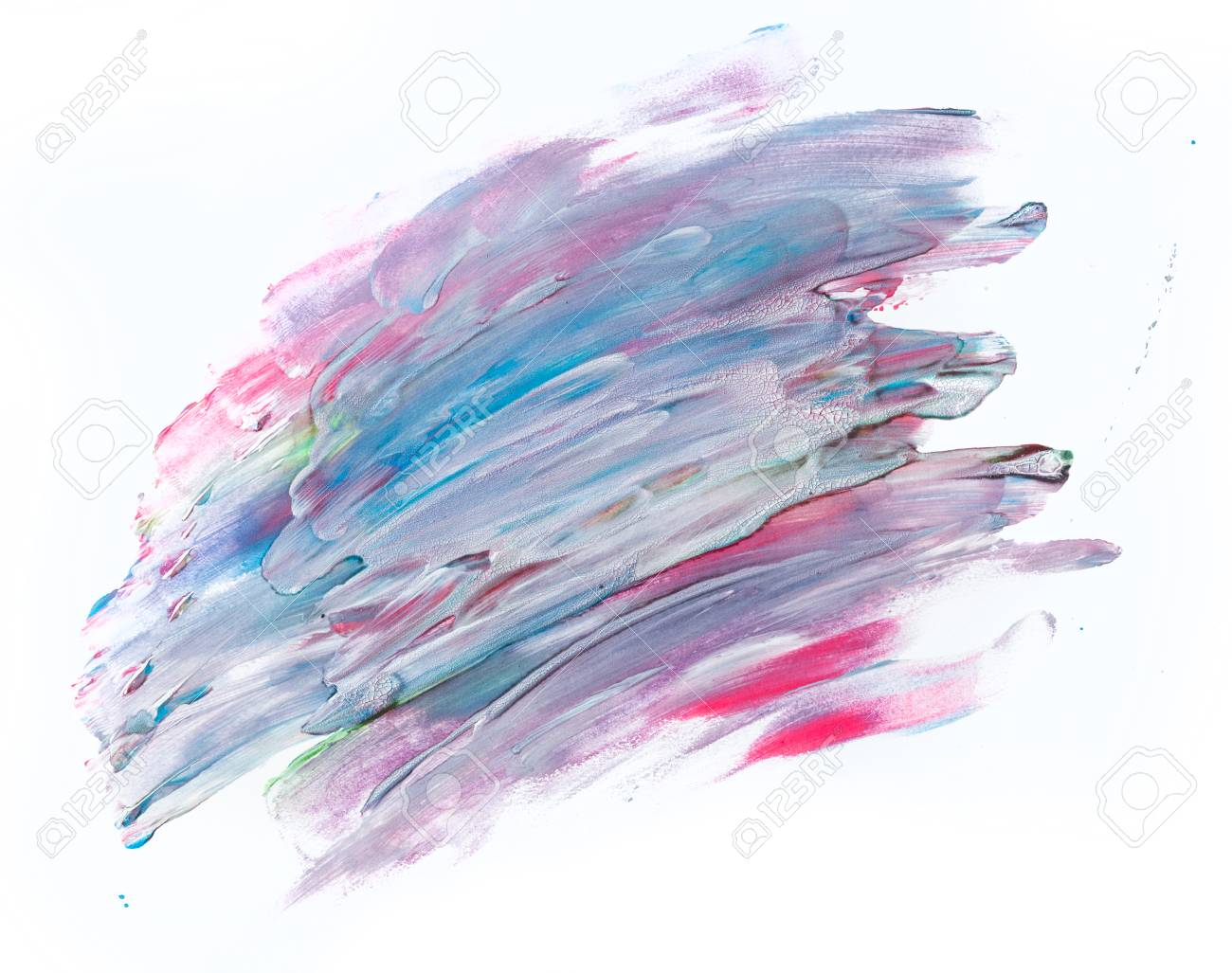 Colorful Watercolor Paint On White Canvas Abstract Background