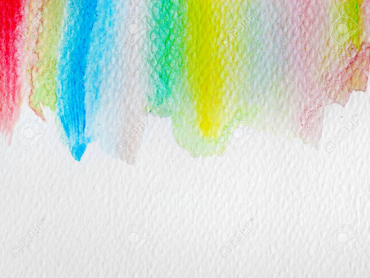 Colorful Stripes Watercolor Paint On Canvas Abstract Background