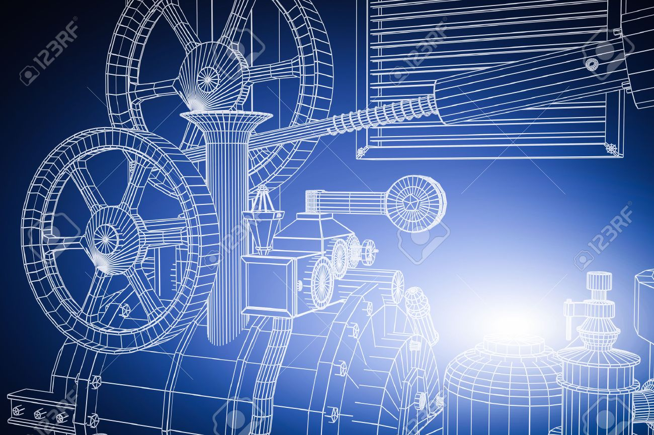 Abstract industrial, technology background. Gears outlines, engineering, factory - 50886235