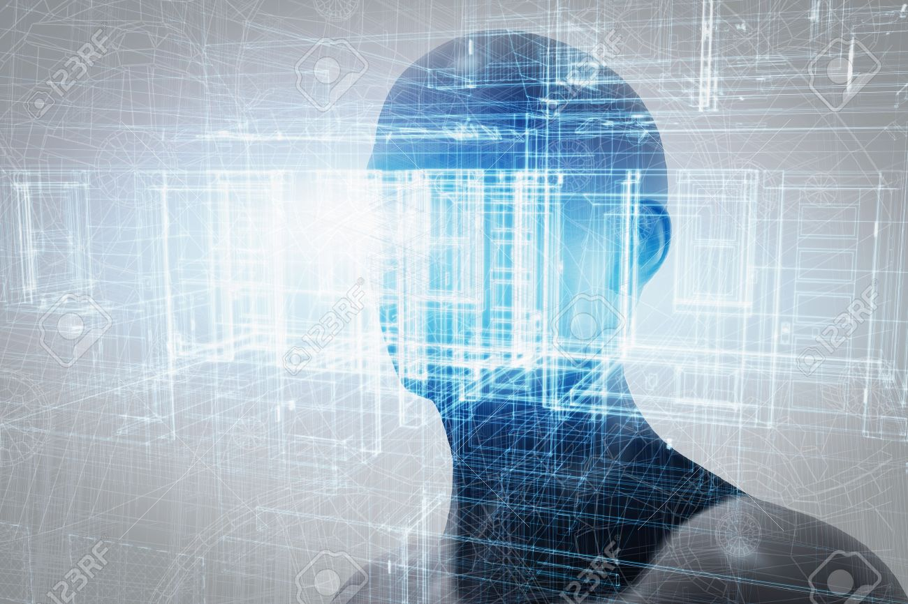 Virtual reality projection. Human and conceptual cyberspace, smart artificial intelligence. Future science with modern technology. Stock Photo - 50883317