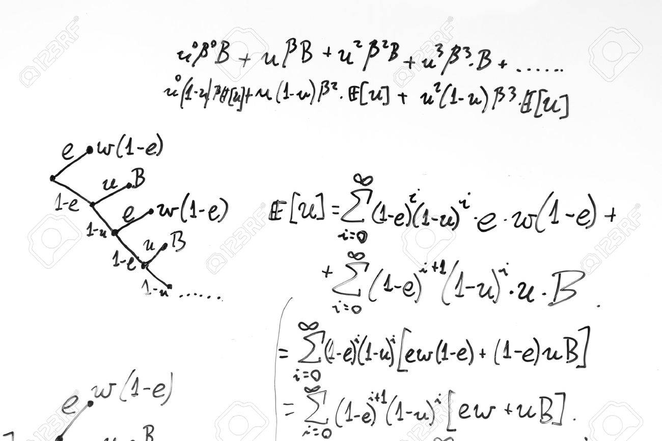 Complex Math Formulas On Whiteboard Mathematics And Science Stock