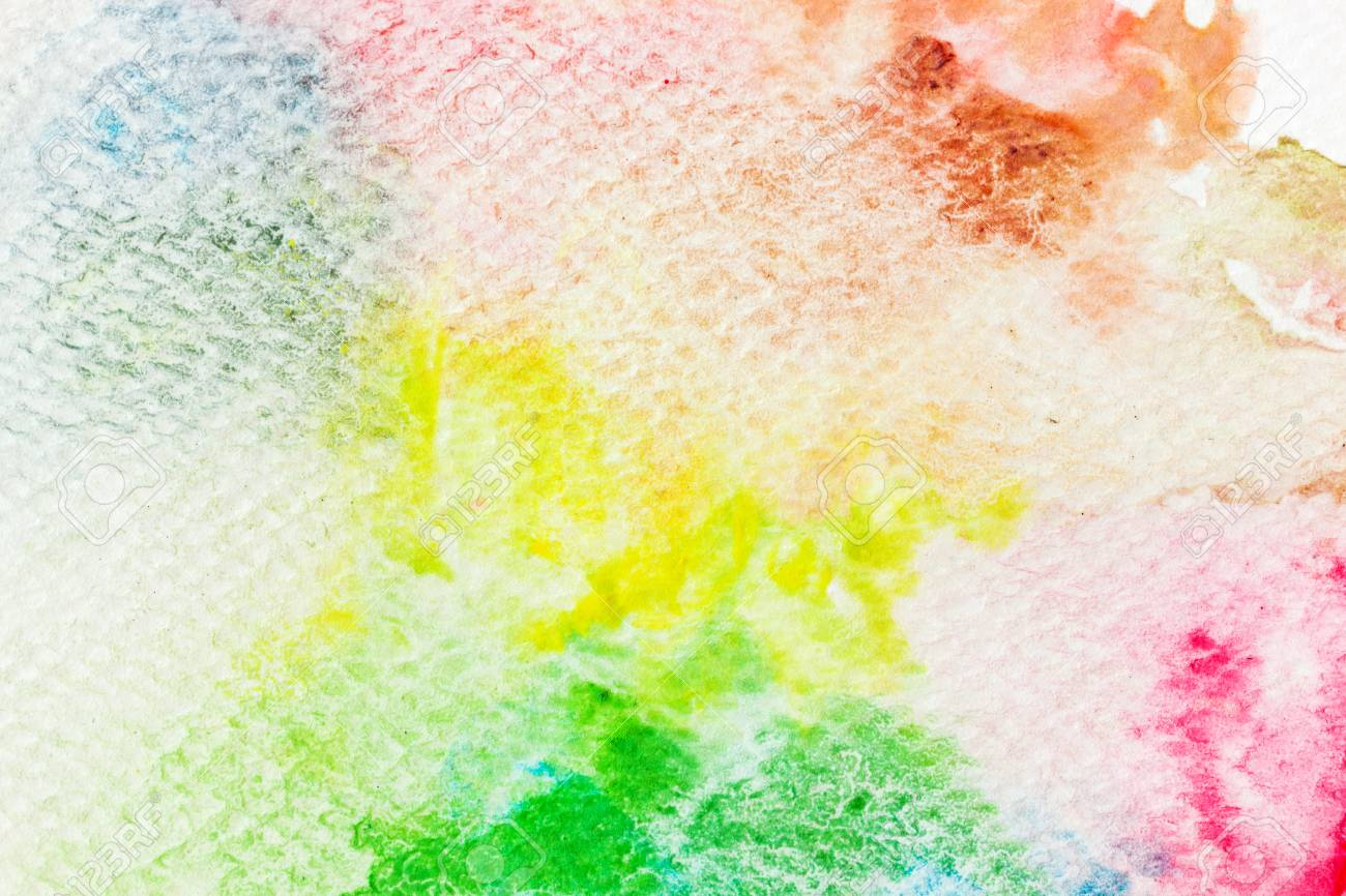 Colorful Watercolor Paint On Canvas Abstract Background Super