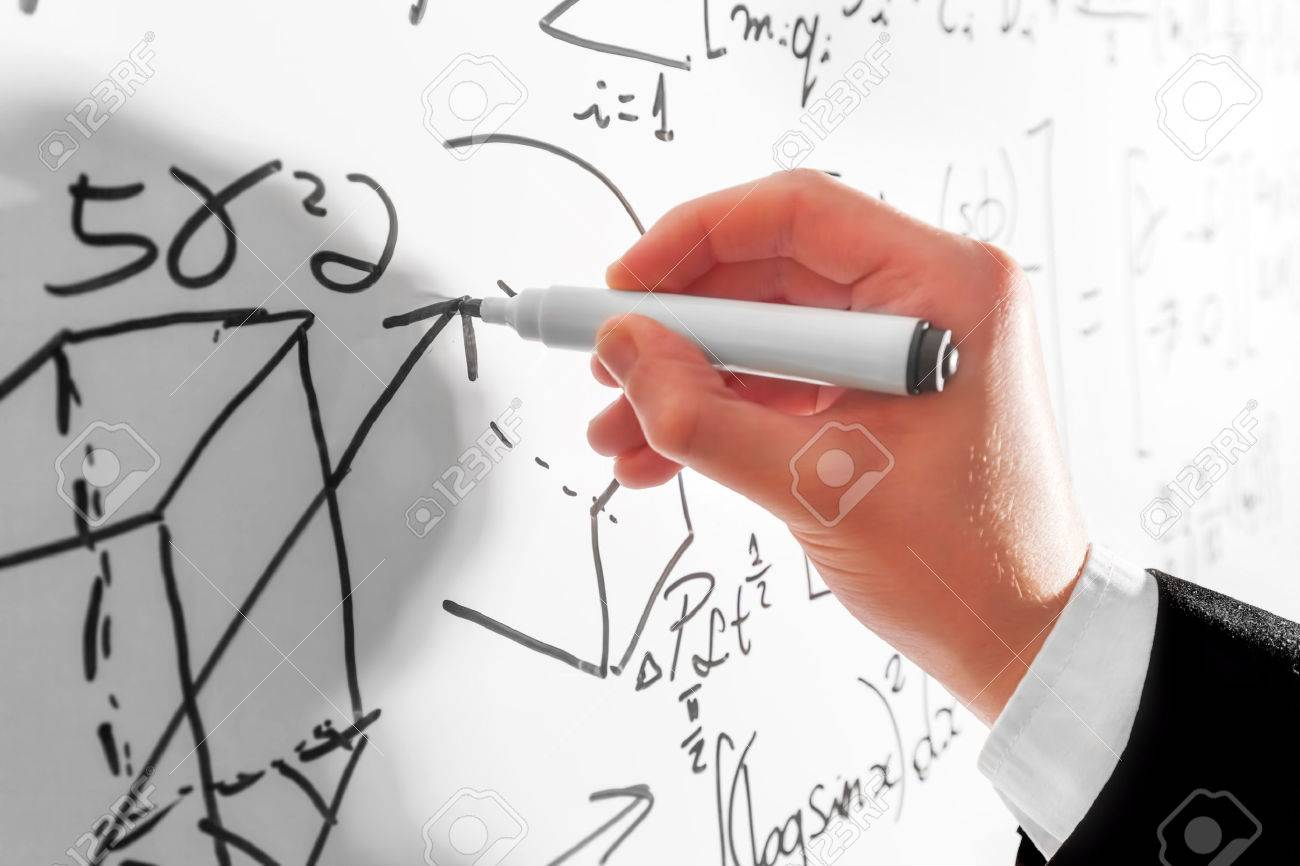 Man writing complex math formulas on whiteboard mathematics man writing complex math formulas on whiteboard mathematics and science with economics concept real biocorpaavc