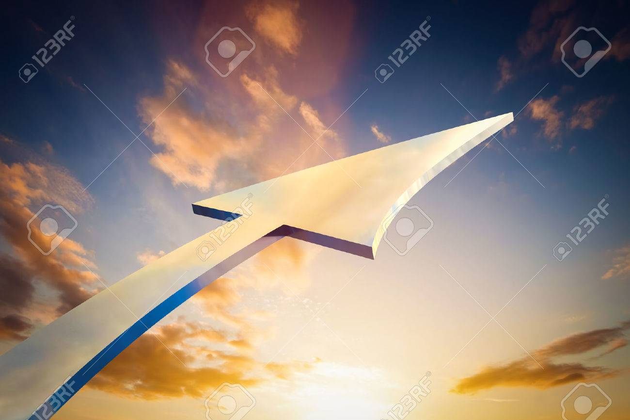 Abstract arrow pointing, growing to the sky. Conceptual growth, bright future, progress. Stock Photo - 50830734