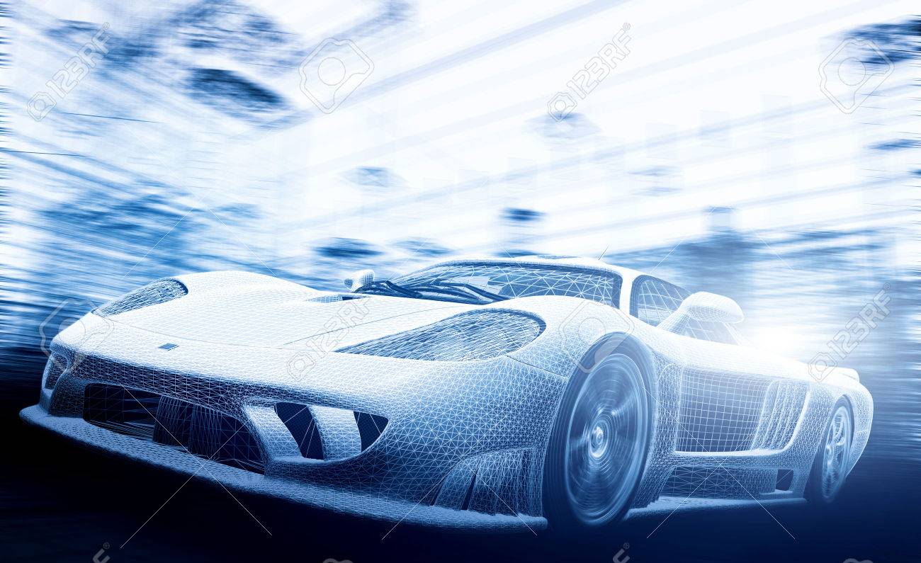 Concept car model in blueprint, wireframe. Speed, technology and ecology - the future of the industry. - 50832577