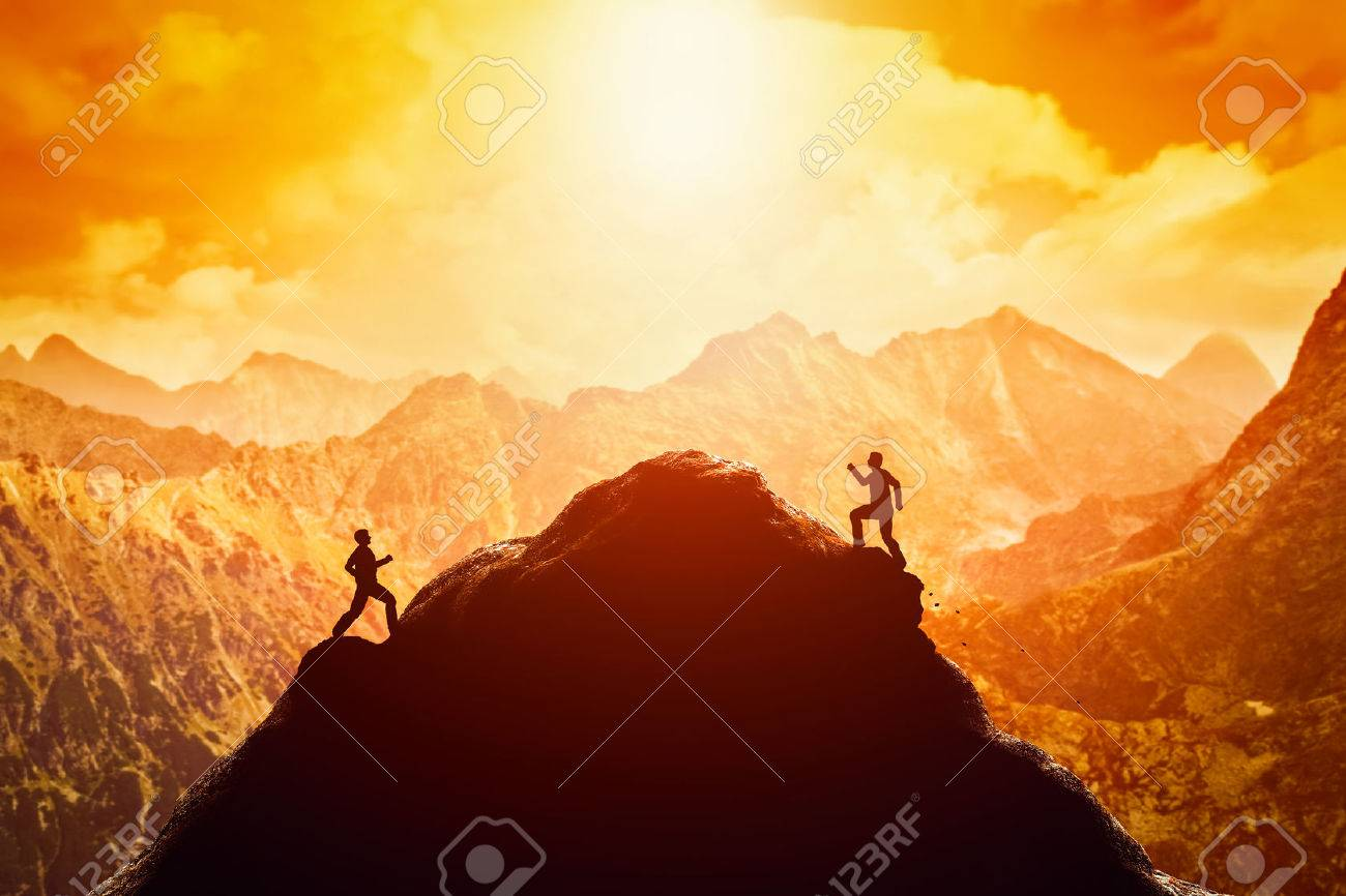Two men running race to the top of the mountain. Competition, rivals, challenge in life concepts Standard-Bild - 54941542