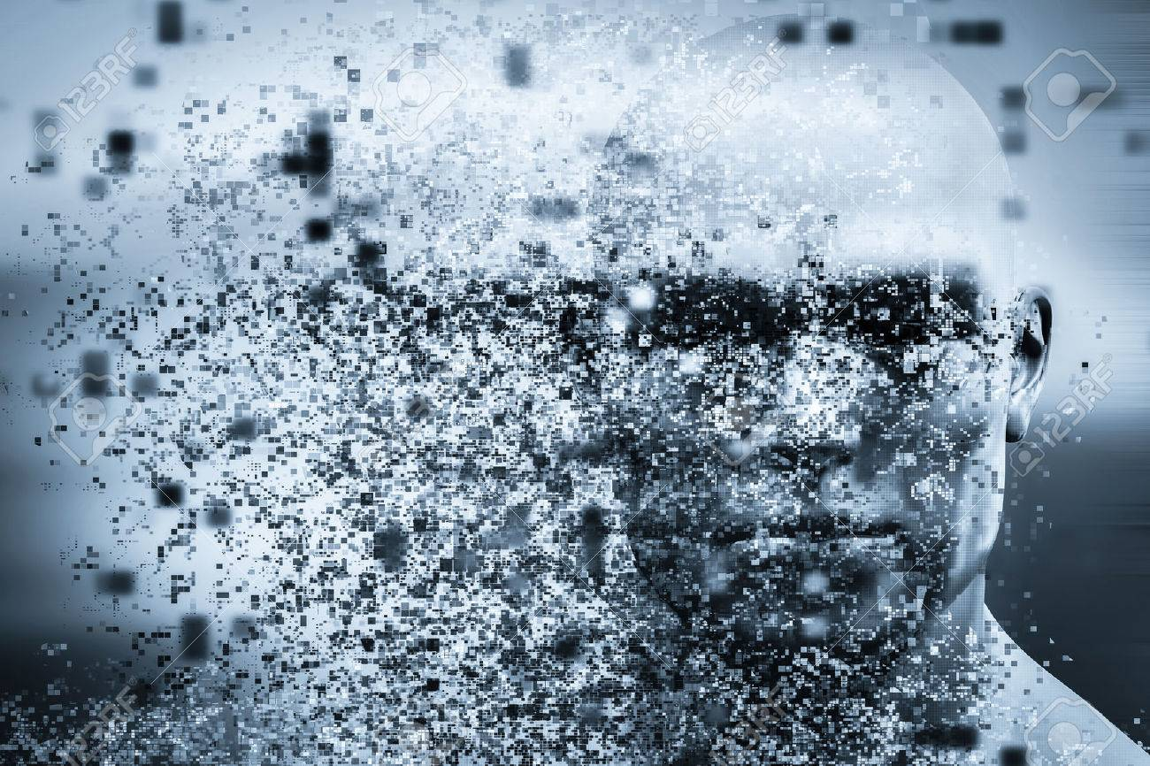 Man face with pixel dispersion effect. Concept of technology, modern science but also disintegration of mind etc. 3D rendering Stock Photo - 59182958