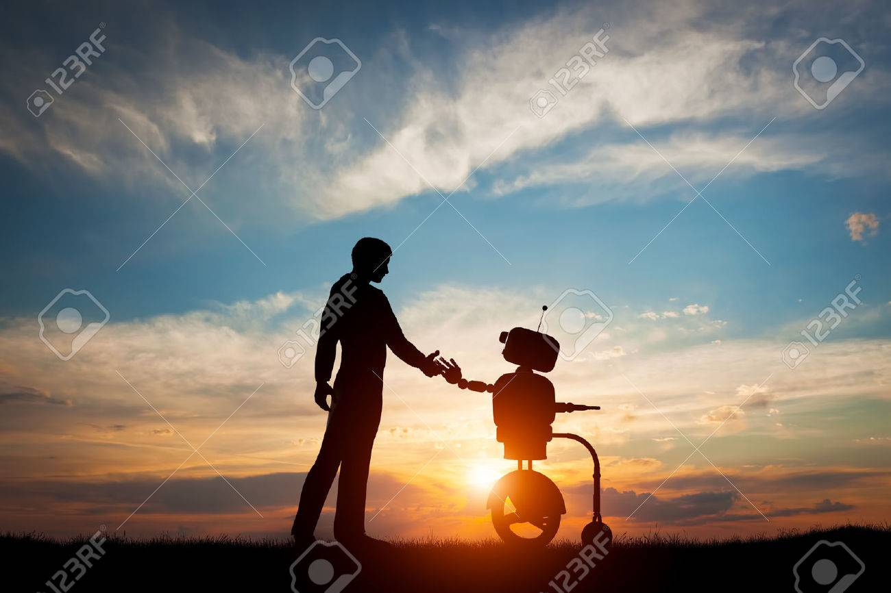 Man and robot meet and handshake. Concept of the future interaction with artificial intelligence. 3D rendering. Standard-Bild - 59181828