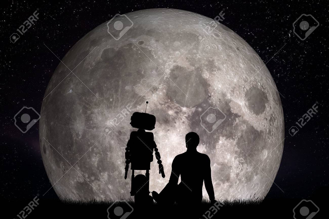 Man and his robot friend looking on moon. Future technology concept, artificial intelligence. 3D rendering. Elements of this image furnished Stock Photo - 59181873