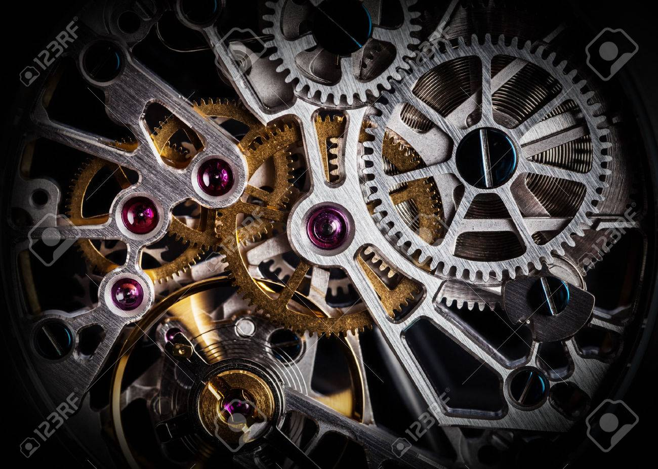 Mechanism, clockwork of a watch with jewels, close-up. Vintage luxury background. Time, work concept. Standard-Bild - 59181375