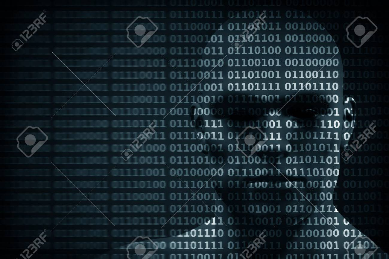 Man face blended with binary code digits. Concept of hacker, coding, programming, data protection etc. Standard-Bild - 57079553
