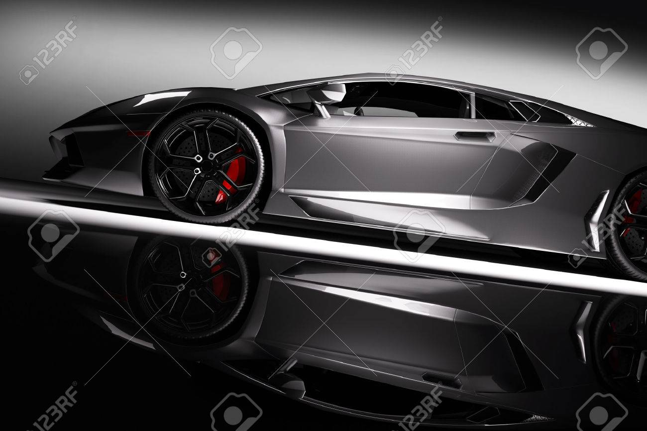 Grey fast sports car in spotlight, black background. Shiny, new, luxurious. 3D rendering Stock Photo - 61711249