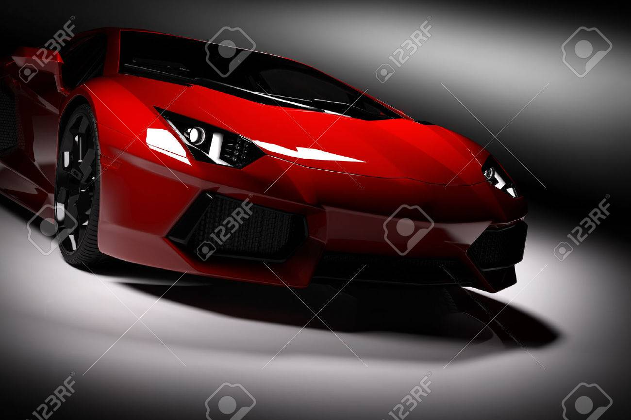 Red fast sports car in spotlight, black background. Shiny, new, luxurious. 3D rendering Standard-Bild - 61712974