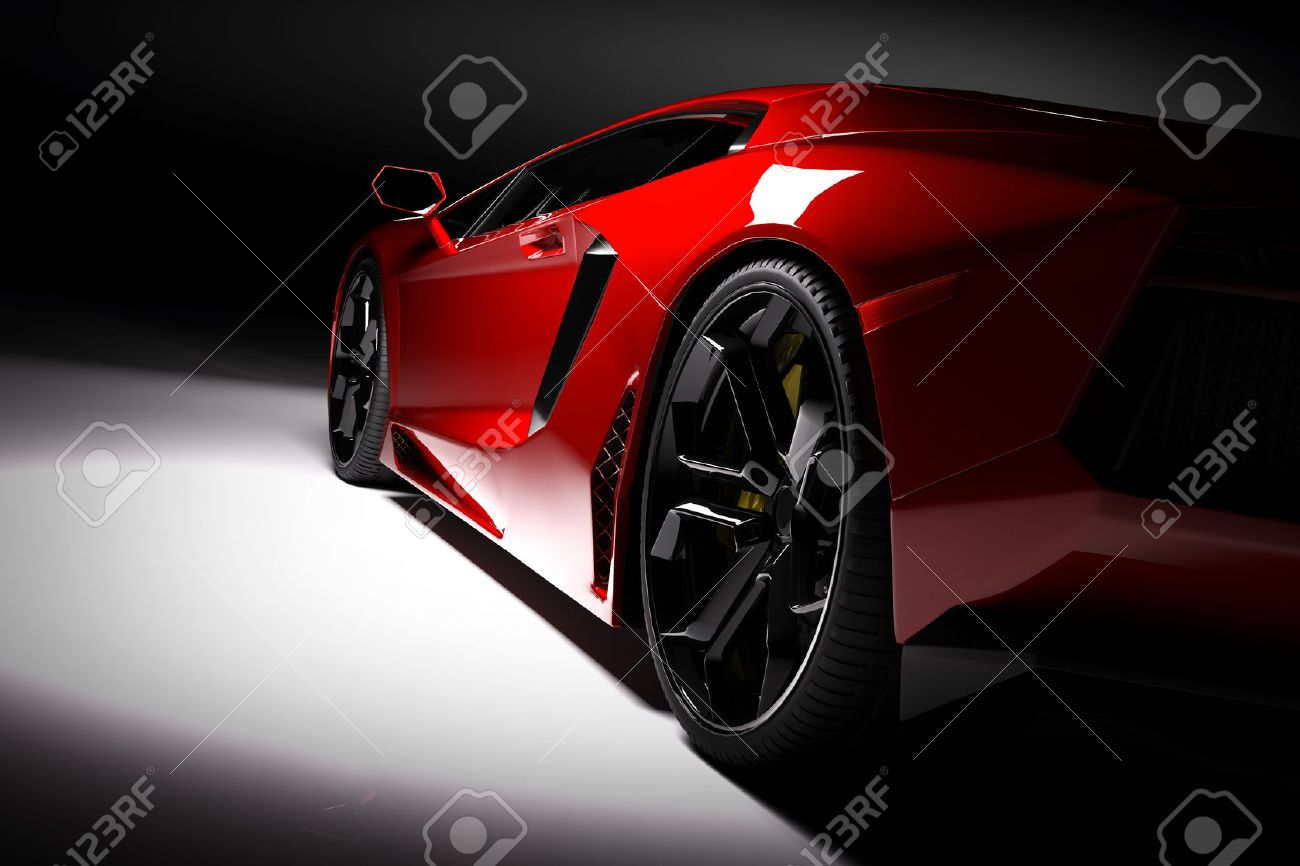 Red fast sports car in spotlight, black background. Shiny, new, luxurious. 3D rendering - 61712984