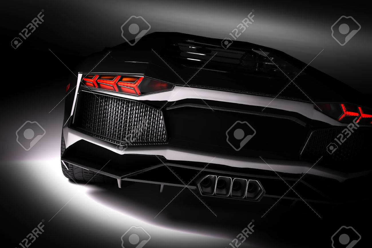 Black fast sports car in spotlight, black background. Shiny, new, luxurious. 3D rendering Standard-Bild - 61712985
