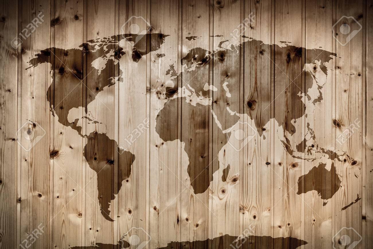 Carte Du Monde Sur Bois.Carte Du Monde Sur Le Mur En Bois Bois Retro Planches Cru Banque D