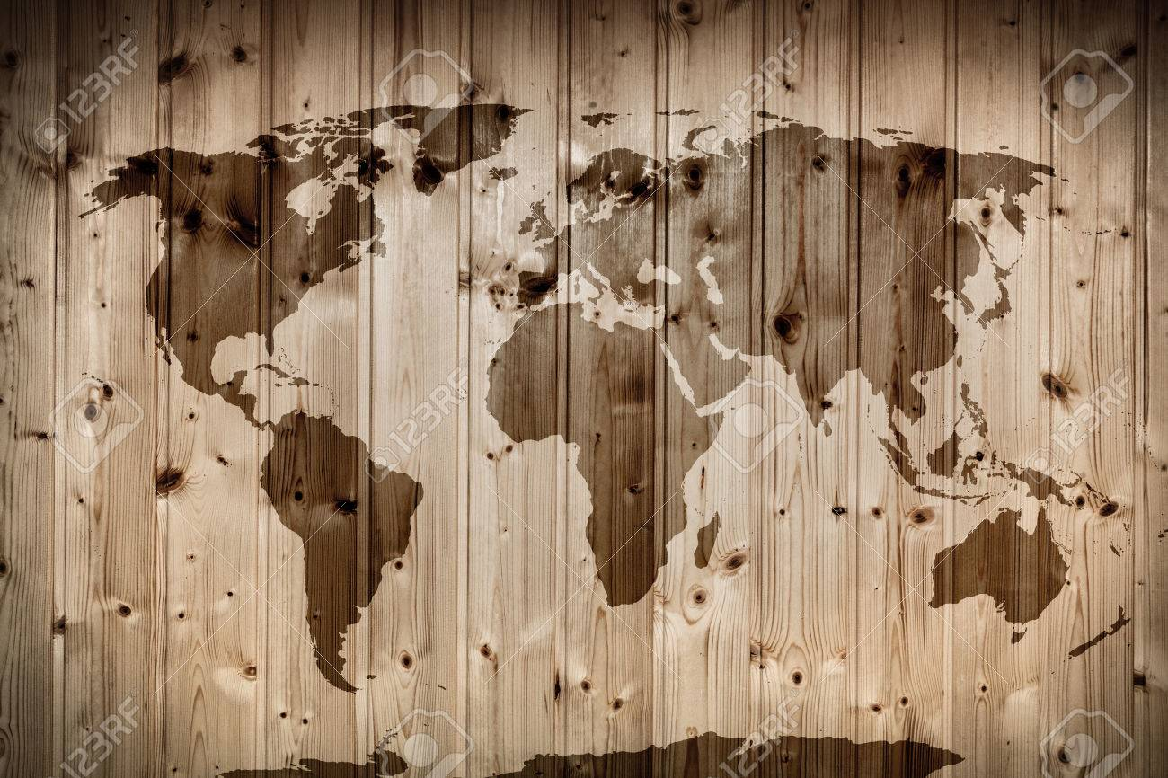 World Map On Wooden Wall Retro Wood Planks Vintage Stock Photo - Vintage world map on wood
