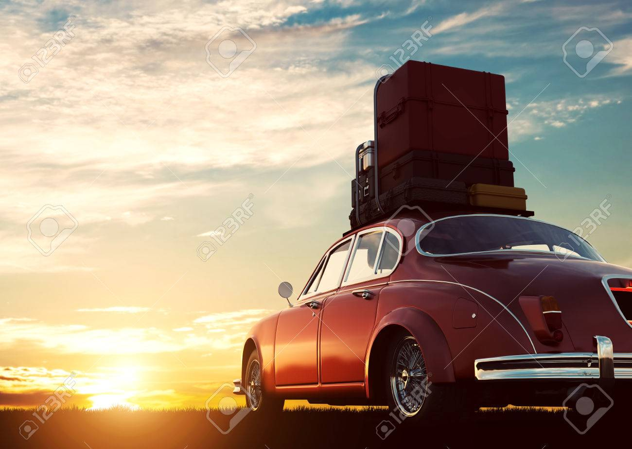 Retro red car with luggage on roof rack at sunset. Travel, vacation concepts. 3D illustration Standard-Bild - 64702967