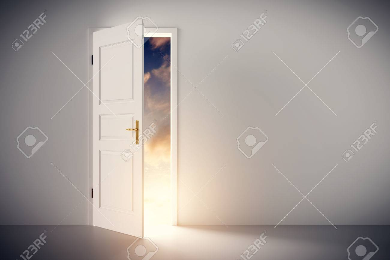 Sun shining through half open classic white door. Concepts of new life, hope, religion etc. 3D illustration Standard-Bild - 64702999