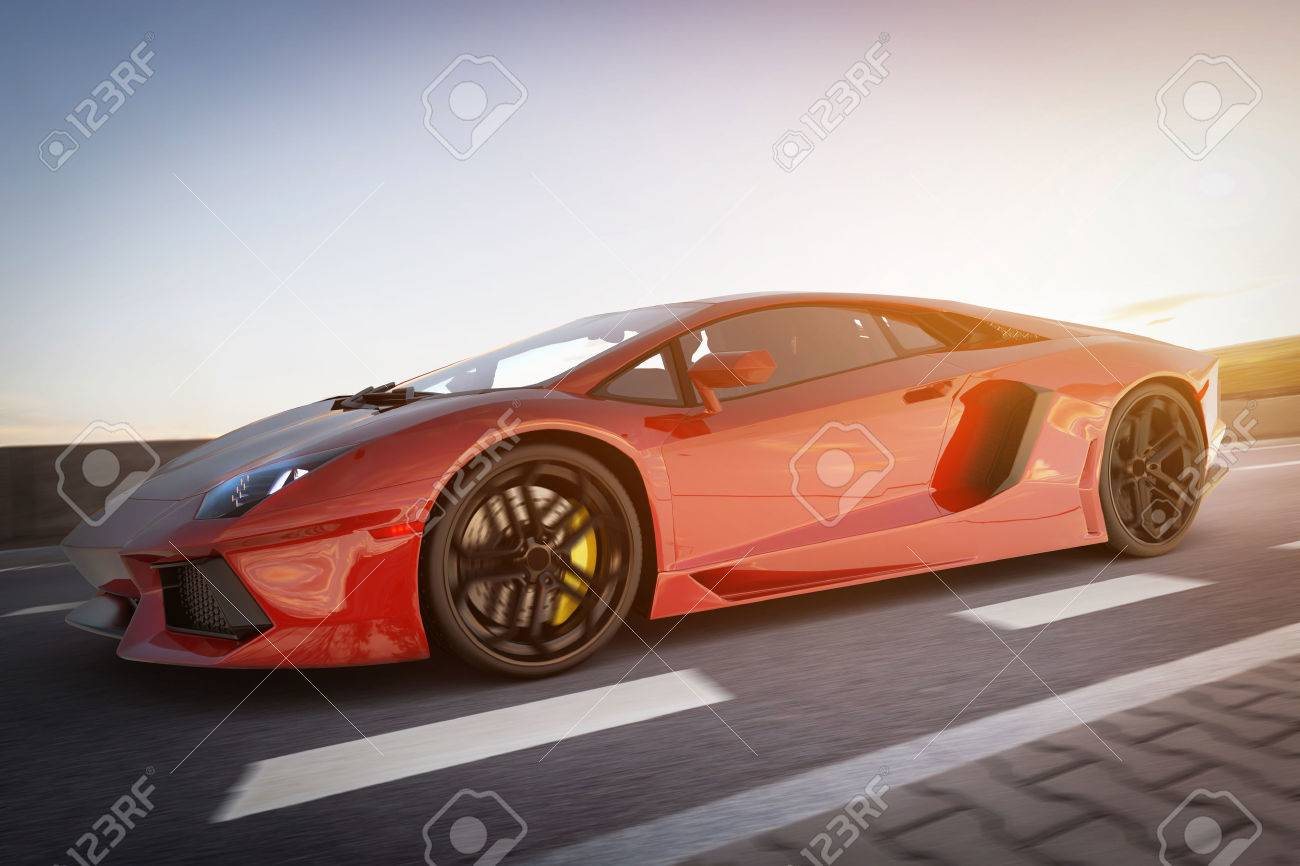 Modern red metallic sports car driving fast on the road. Generic desing, brandless. 3D rendering. Standard-Bild - 64703048