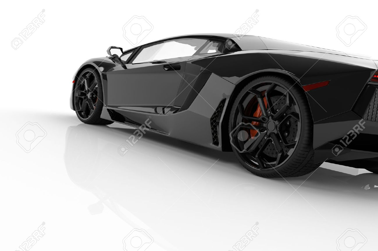 Black fast sports car on white background studio. Shiny, new, luxurious. 3D rendering Stock Photo - 64703049