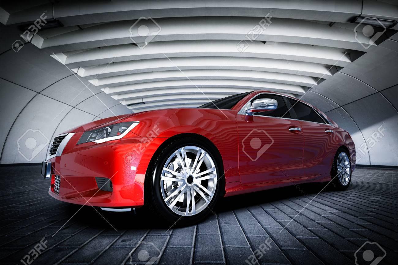 Modern red metallic sedan car in urban setting - tunnel. Generic desing, brandless. 3D rendering. Standard-Bild - 64703064