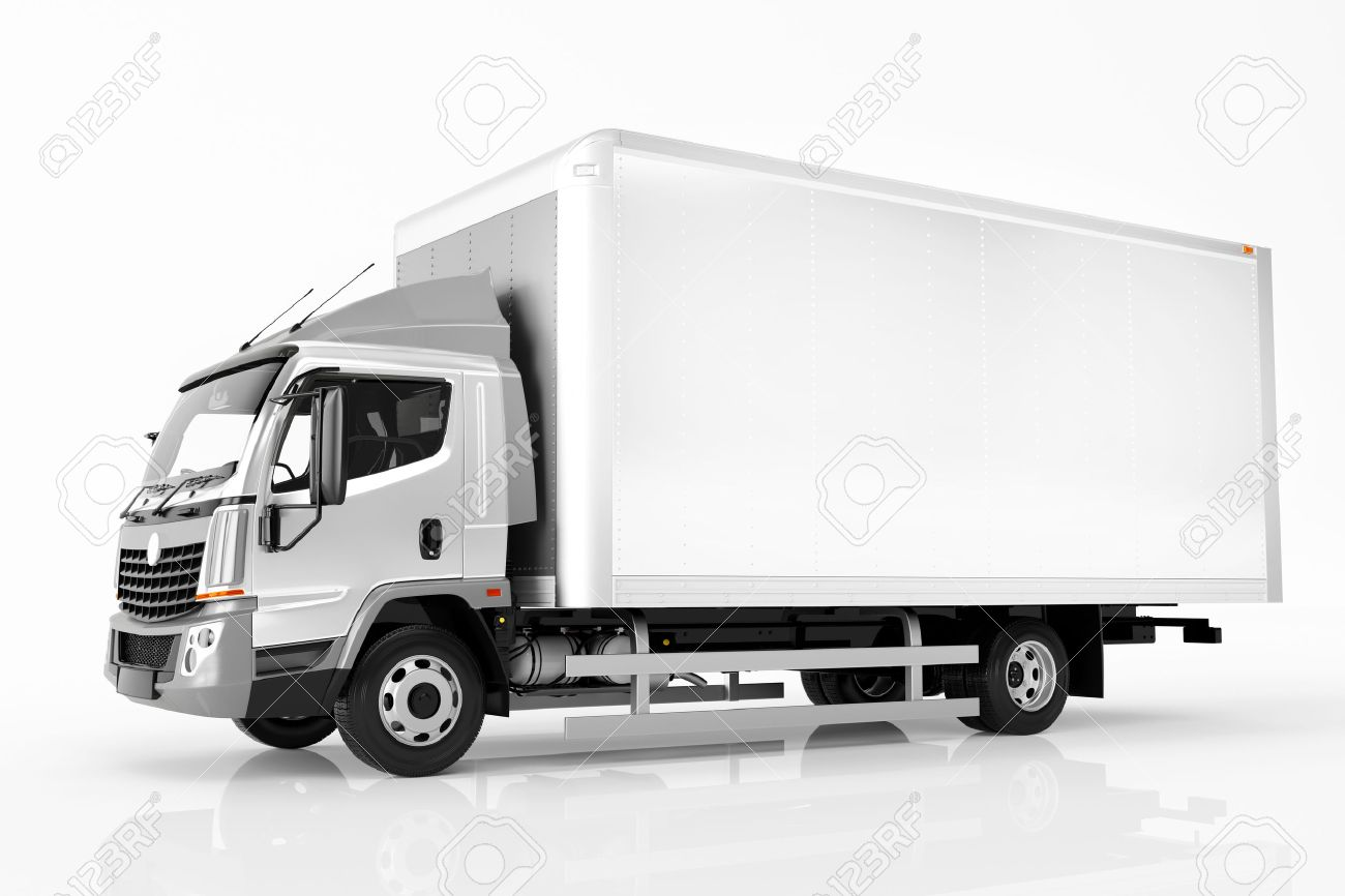 Commercial cargo delivery truck with blank white trailer. Isolated, generic, brandless vehicle design. 3D rendering - 64703089
