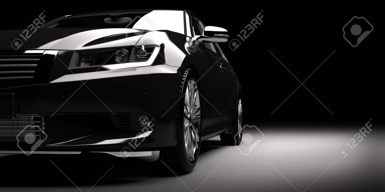 Modern new black metallic sedan car in spotlight. Generic contemporary desing, brandless. 3D rendering. - 68919541