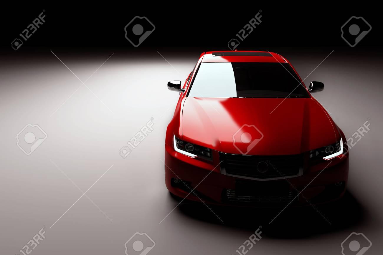 Modern new red metallic sedan car in spotlight. Generic contemporary desing, brandless. 3D rendering. Standard-Bild - 71639259