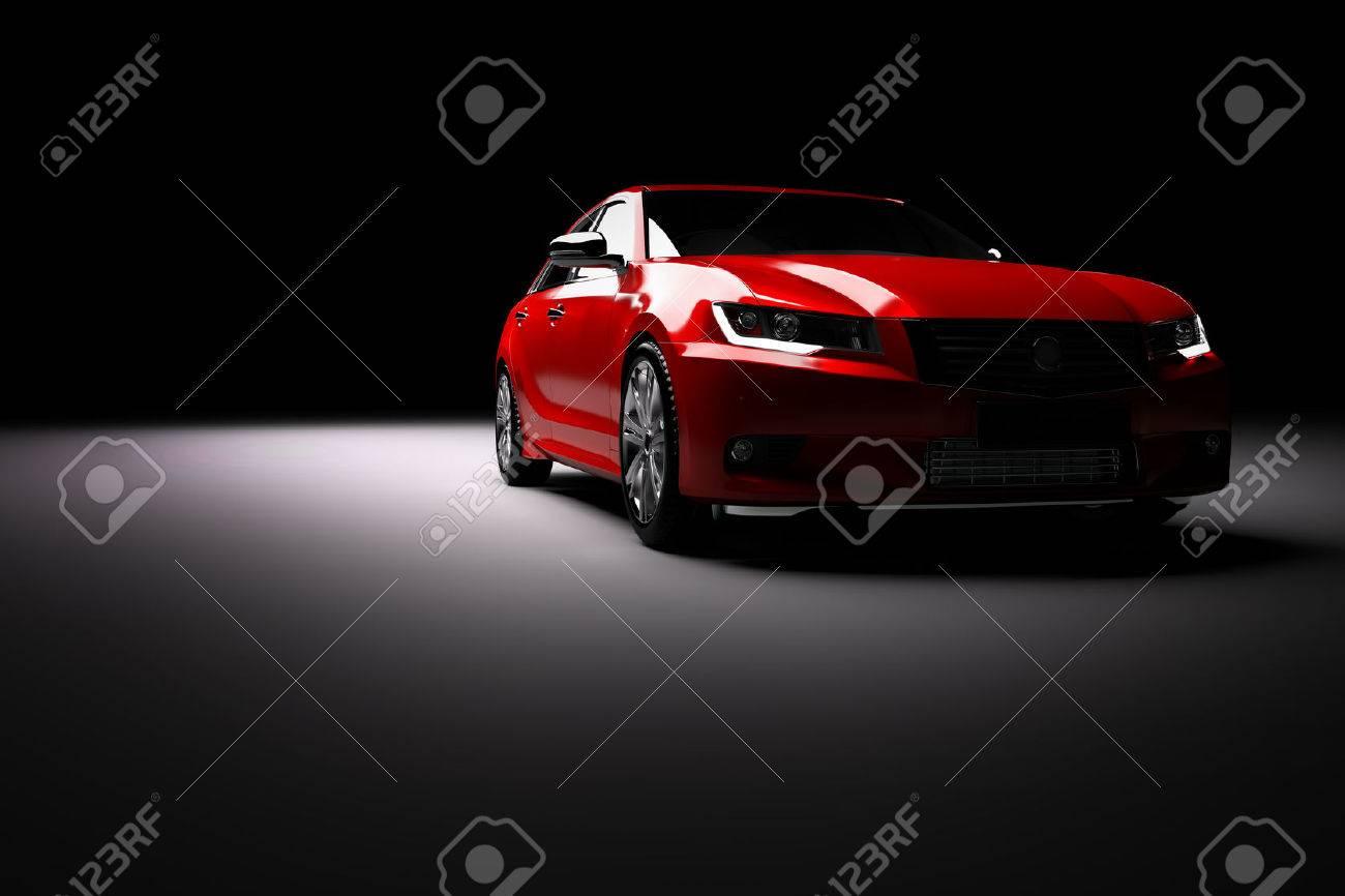 Modern new red metallic sedan car in spotlight. Generic contemporary desing, brandless. 3D rendering. - 68850286